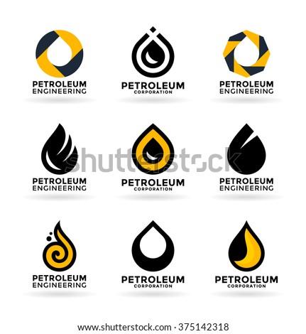 Set of petroleum industry symbols and logo design elements (3) - stock vector