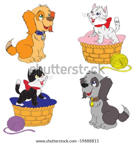 Set of pets - stock vector