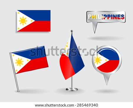 Set of Philippines pin, icon and map pointer flags. Vector illustration. - stock vector