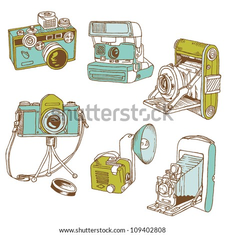 Set of Photo Cameras - hand-drawn doodles in vector - stock vector