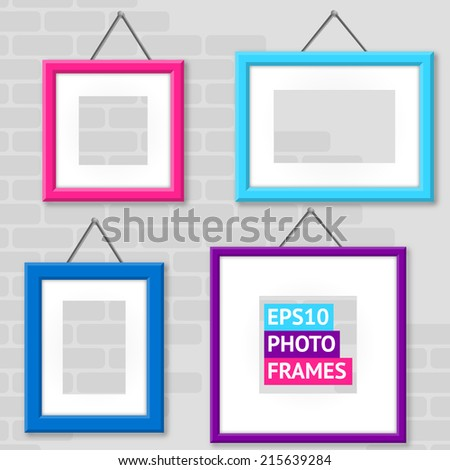 Set Of Photo Frame On A Wall - stock vector