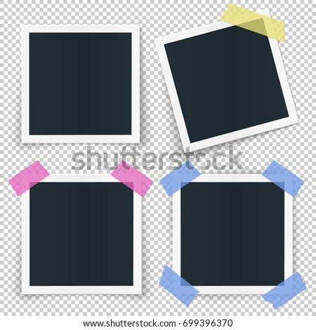 Set 4 Photo Frames Stickied Colored Stock Vector HD (Royalty Free ...