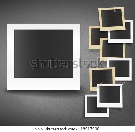 Set of photo old paper cards - stock vector