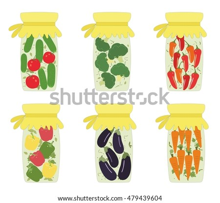 Set of pickled jars with vegetables. Vector illustration. Vector pickled cucumber, pickled vegetables, pickled pepper, pickled tomato, carrot, eggplant, cabbage.