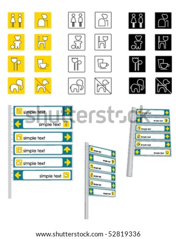 Set of pictograms. Colour versions and three-dimensional stand. - stock vector