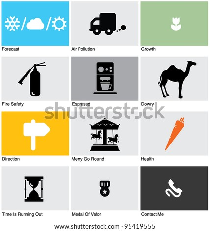 SET OF PICTOGRAMS. Vector illustration design elements,icons, symbols and objects kit. - stock vector