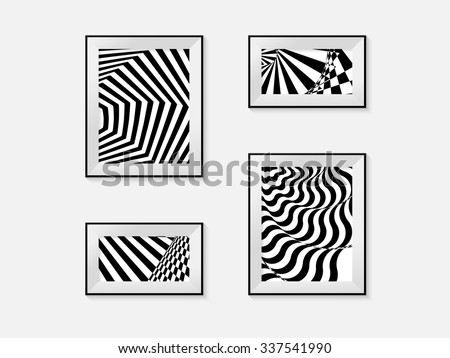 Set of picture frames with optical illusion. Vector illustration - stock vector
