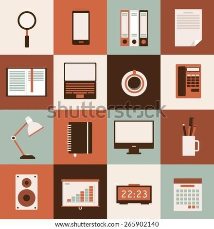 set of pictures desktop, computer, magnifying glass, folders, documents, notes, reading lamps, heater, clock, schedule, calendar, phone, pencils, ruler, illustration - stock vector