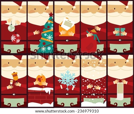 set of pictures with Santa Claus illustration - stock vector