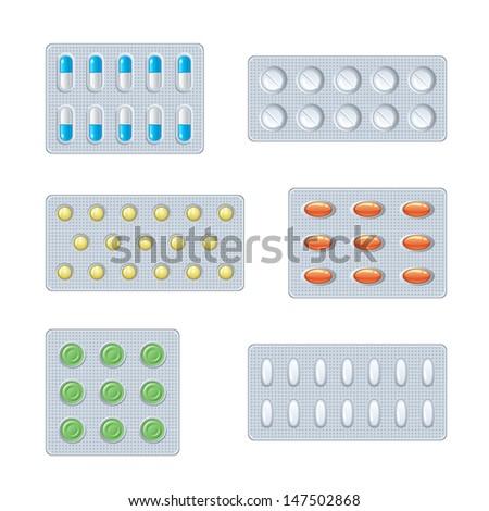 Set of pills - stock vector