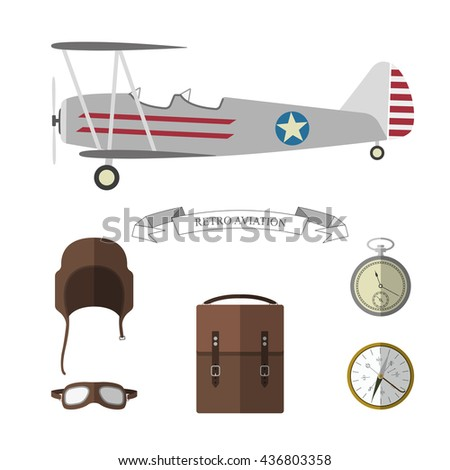 Set of pilot objects. Retro aviation items collection. Vector illustration - stock vector