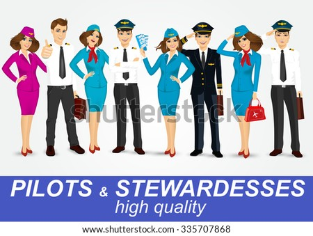 set of pilots and two stewardesses in uniform isolated on white background - stock vector