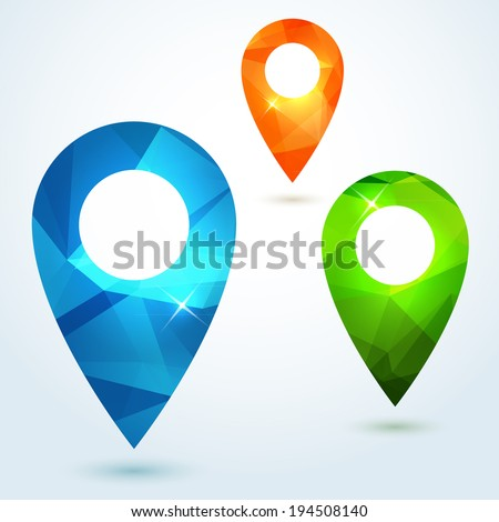 Set of pin map pointers with bright modern triangle pattern