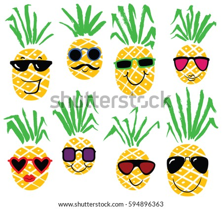 pineapple with sunglasses clipart. set of pineapples like humans. summer collection sunglasses on smiling pineapple characters. cute with clipart