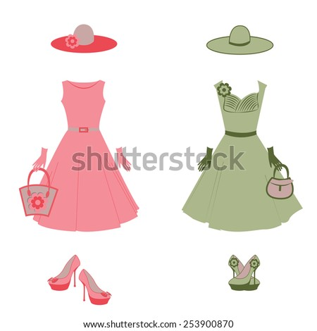 Set of pink and green retro dress. Composition with high heel shoes, ladies handbag, gloves and hat. Fashion illustration in vector. - stock vector