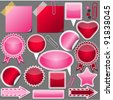 set of pink and red elements - stock vector