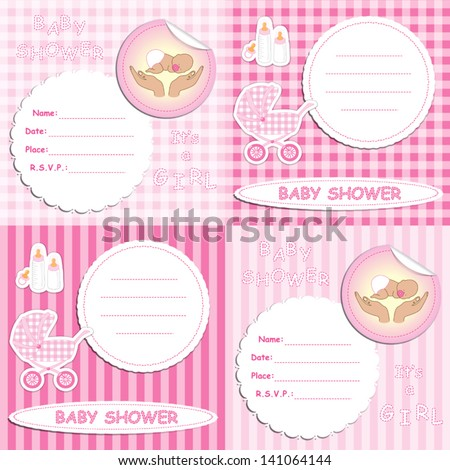 Set of pink baby shower invitation cards for girl