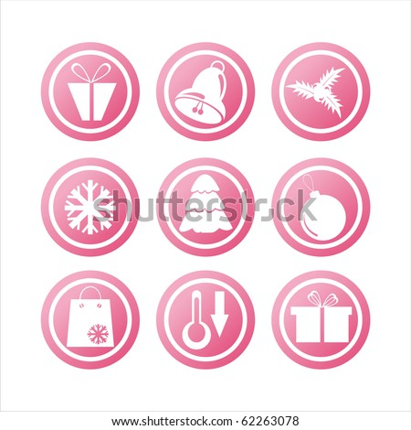 set of 9 pink christmas signs - stock vector