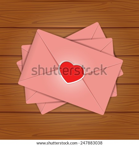 Set of pink envelopes with red Valentines heart on wooden background, illustration. - stock vector