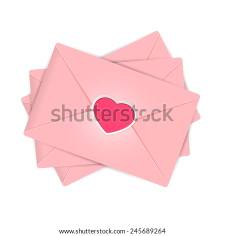 Set of pink envelopes with Valentines heart, illustration. - stock vector