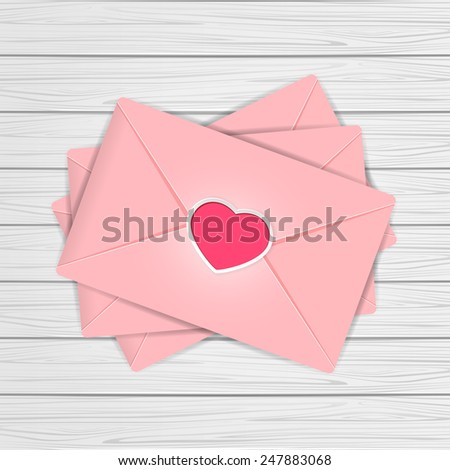 Set of pink envelopes with Valentines heart on wooden background, illustration. - stock vector