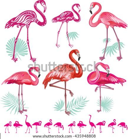 Set of pink flamingos - stock vector