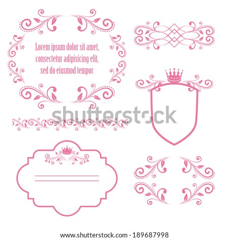 set of pink floral frames with crowns isolated on white background. design elements for little princess, glamour girl and woman. can use for birthday card, wedding invitations. vector illustration.  - stock vector
