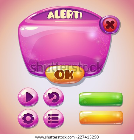 Set of pink glossy information panel and buttons, beautiful sparkling elements for your game design - stock vector