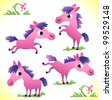 Set of pink horses - stock vector