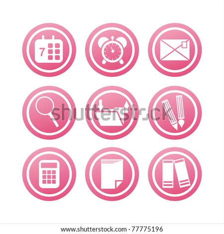 set of 9 pink office tools signs - stock vector