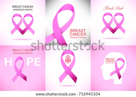 Set of Pink ribbon breast cancer awareness campaign for October symbol icon, isolated on pink background. vector eps10 illustration for design