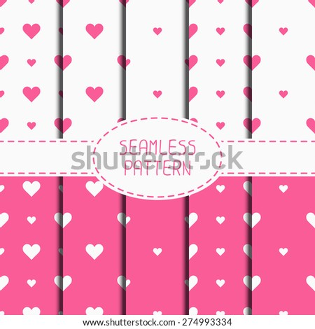 Set of pink romantic geometric seamless pattern with hearts. Collection of wrapping paper. Scrapbook paper. Tiling. Vector illustration. Background. Graphic texture. Valentines day. - stock vector