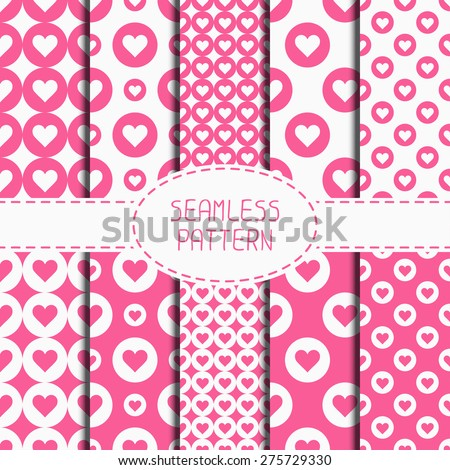 Set of pink romantic geometric seamless pattern with hearts. Collection of wrapping paper. Scrapbook paper. Vector illustration. Background. Graphic texture. Valentines day. - stock vector