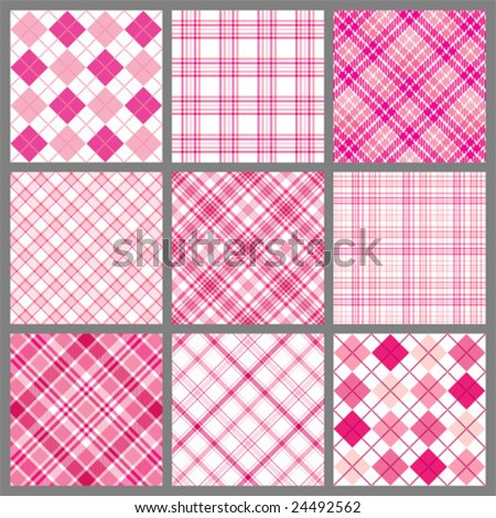 Set of pink vector plaids