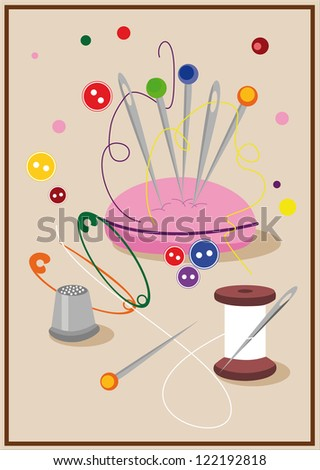 Set of pins and other sewing accessories - stock vector