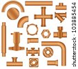 Set of pipes and fittings - stock vector