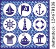 set of pirate and sailor icons on blue waves background - stock vector