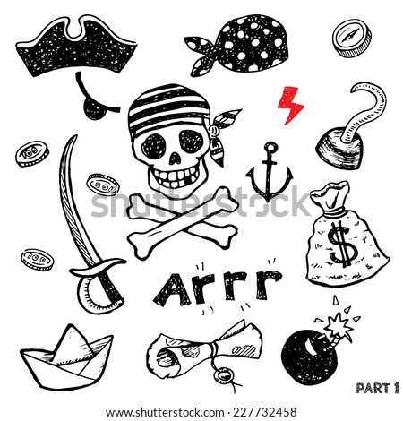 Set of pirate attributes for fighting, boarding and comfortable life, vector - stock vector