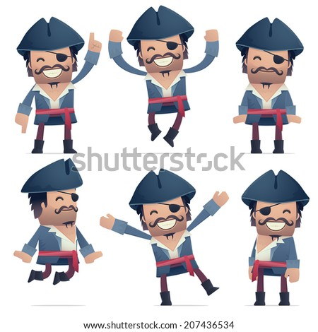 set of pirate character in different interactive  poses - stock vector
