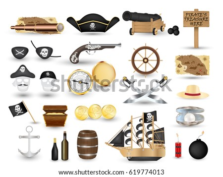 set of pirate object tool on a white background