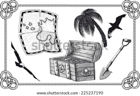 set of pirate treasure in the frame. Map, shovel, treasure chest and more - stock vector