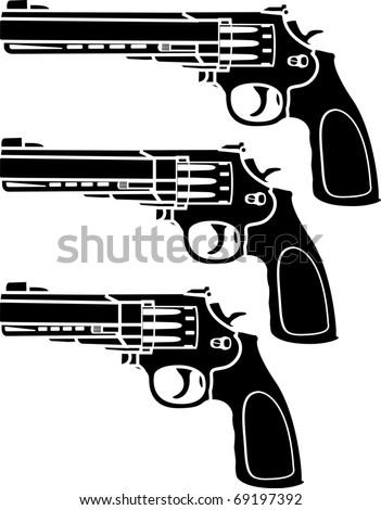 set of pistols. stencil. vector illustration - stock vector