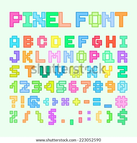 Set Of Pixel Art Alphabet, Letters And Numbers. Vector Illustration