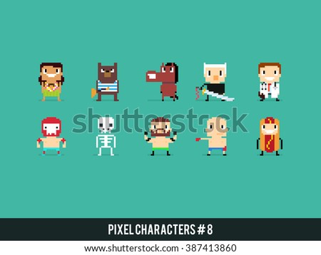 Set of pixel art characters with different gender, skin color and species