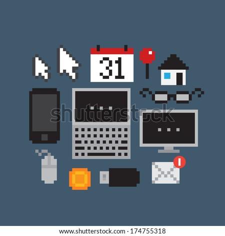 Set of pixel art icons - stock vector