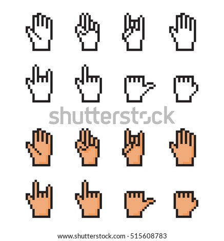 Set of pixel cursor hands. Simple and realistic. - isolated vector illustration