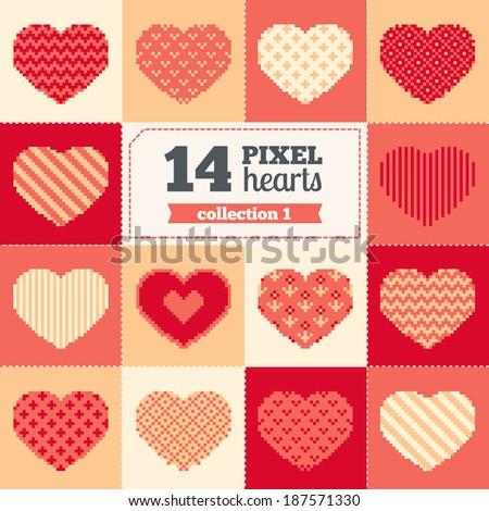 Set of pixel hearts - Valentine's Day - stock vector