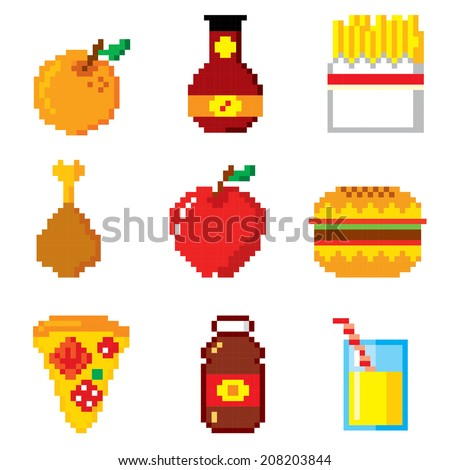 Set of pixel icons. Fast food. - stock vector