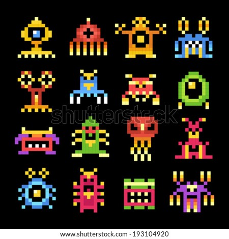 Set of pixel monsters aliens - stock vector