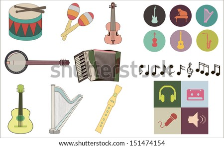 Set of pixel music instruments icons and other different pixel music icons, including notes - stock vector